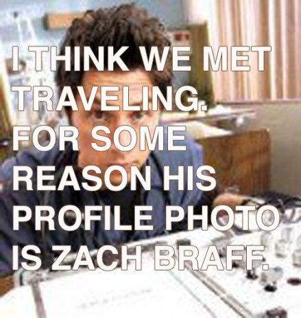 For some reason his profile photo is Zach Braff.
